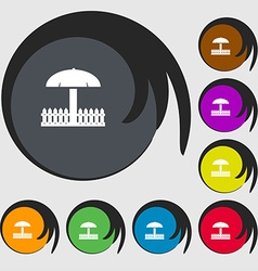 Sandbox icon sign symbols on eight colored buttons vector
