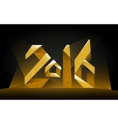 Inscription 2016 golden on a black background vector