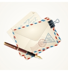Letter mail and pen vintage vector