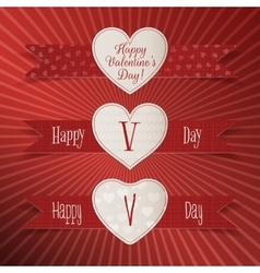 Valentines day paper heart labels set vector
