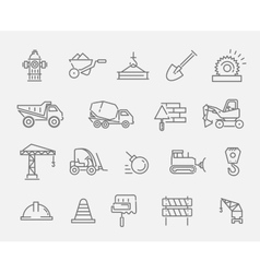 Construction and industrial machinery icon set vector