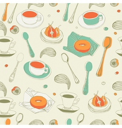 Afternoon tea seamless pattern vector