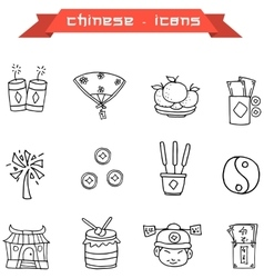 Art of chinese icon with hand draw vector