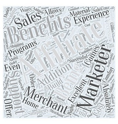 Benefits of being an affiliate marketer word cloud vector