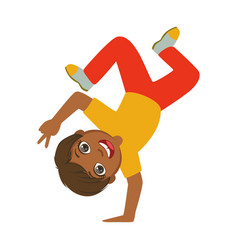 Boy standing upside down on one hand dancing vector