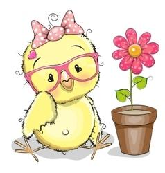 Chicken with flower vector