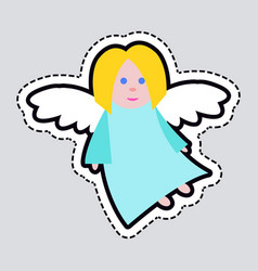 christmas angel blue clothes white long wings vector image vector image