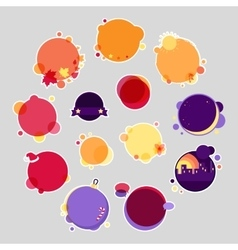 Collection of round stickers with place for text vector
