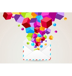 Colorful cubes flying from mail vector image vector image