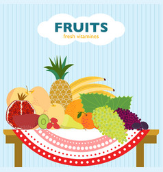 Colorful flat fruit concept vector