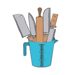 container with knifes and rolling pin colorful vector image vector image