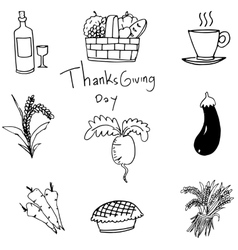 Doodle of vegetable set thanksgiving art vector