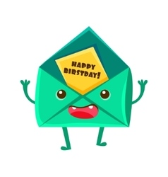 Envelop With Greeting Postcard Happy Birthday And vector image vector image