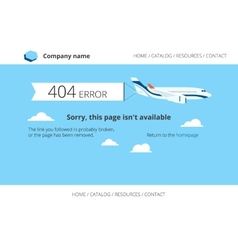 Flat airplane with 404 error notification vector image vector image