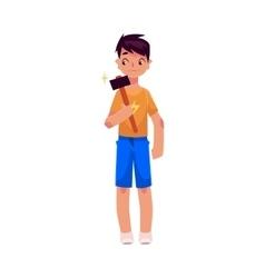 Full length portrait of teenage boy holding a vector