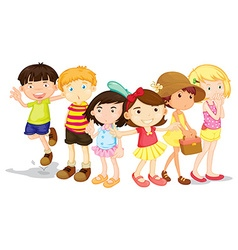 Group of boys and girls vector image