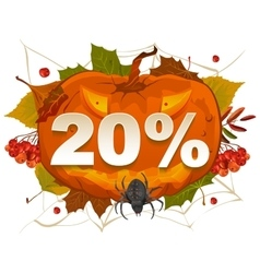 Halloween discount coupon of 20 percent halloween vector