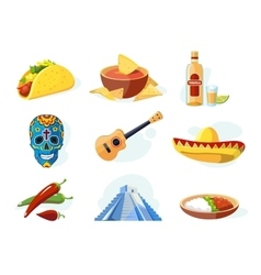 Icon set with traditional mexican ellements vector