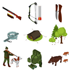 Isometric hunting set vector
