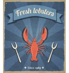 Lobster retro poster vector