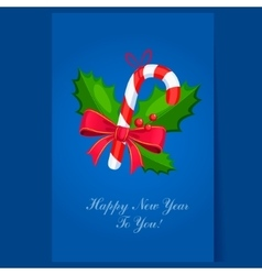 Lollipop Christmas greeting card with text vector image vector image