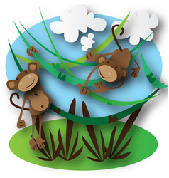 monkeys jumping in the forest vector image