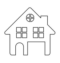 Monochrome contour of house two floors and attic vector
