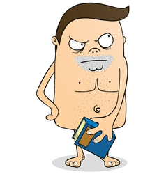 Naked man with book vector