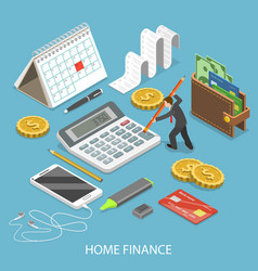 Personal home finance flat isometric vector