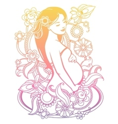 Pregnant woman in flowers vector image