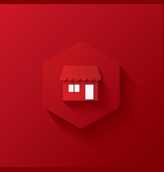 Red icons on hexagonicons marketinglong shadows vector