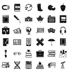 Science icons set simple style vector