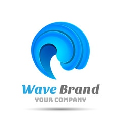 Sea water wave icon volume logo colorful 3d design vector