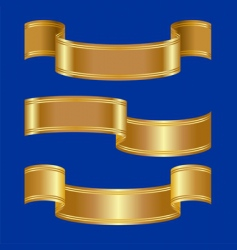 set of gold bands on a blue background vector image