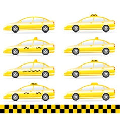 set of modern isolated taxi vector image vector image
