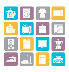 Silhouette home equipment icons vector image