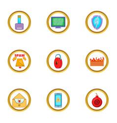 Spam icons set cartoon style vector