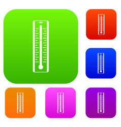 thermometer with degrees set color collection vector image