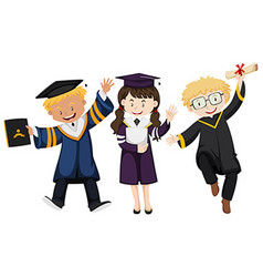Three people in graduation gown vector image vector image