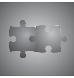 Two grey piece puzzle round infographic 2 step vector