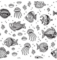 underwater life seamless pattern with ink fishes vector image vector image