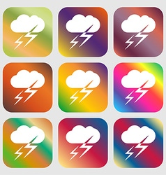 Weather icon nine buttons with bright gradients vector