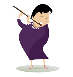 Woman plays the flute isolated vector
