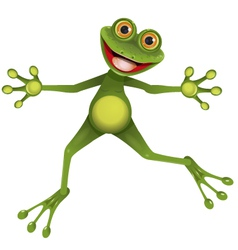Happy green frog vector