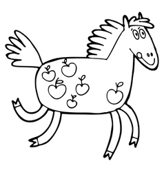Hand-drawn with horse in a village vector