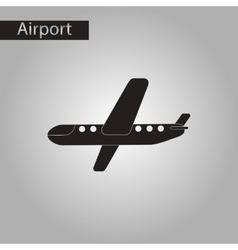 Black and white style icon airplane vector