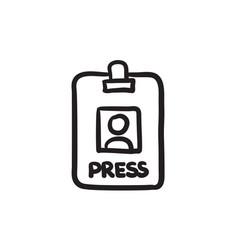 Press pass id card sketch icon vector
