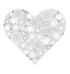 floral heart coloring book page black and white vector image