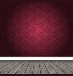 Empty room with damask wallpaper and wooden floor vector