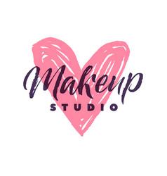 Makeup studio logo stroke pink heart vector